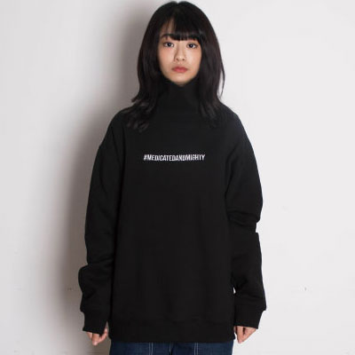 【2XADRENALINE】裏起毛ハッシュタグタートルネック - BLACK
