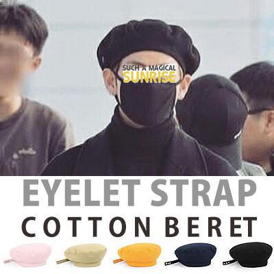 BTS防弾少年団st)アイレットストラップコットンベレー帽