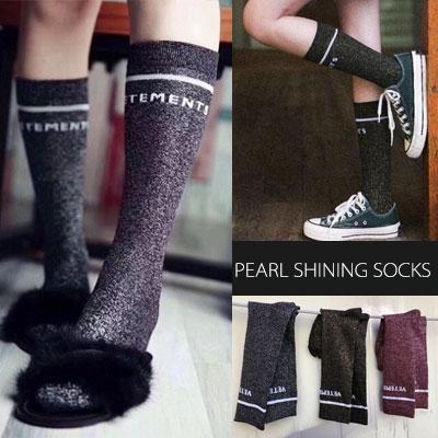 [WOMAN] シンプル/ロゴパールシャイニングソックス/靴下(3color)