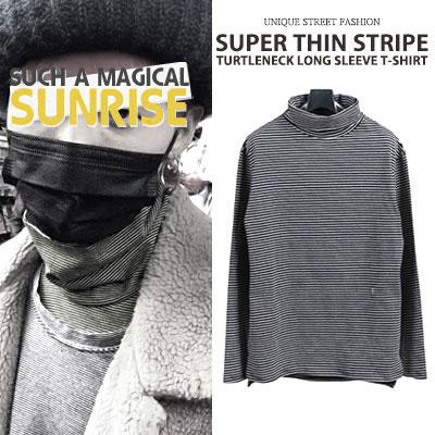 [UNISEX] BIGBANG/GD/G-DRAGON STYLE 薄いストライプタートルネックロングスリーブ(3color)