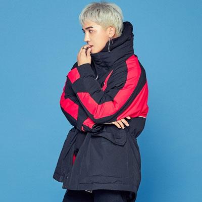 [8seconds][MINO's pick] WINNER style!ブラックリブハーフネックオーバーサイズダウンジャケット/SongMiNo/KangSeungYoon/KimJinWoo/LeeSeungHoon