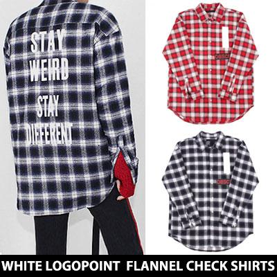 [UNISEX] ホワイトレタリングポイントフランネルチェックシャツ(2color)