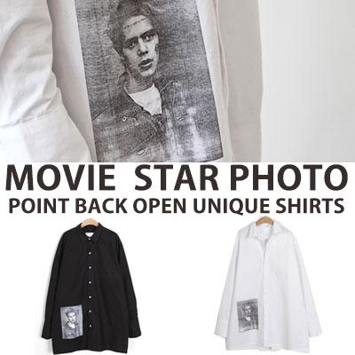 [UNISEX] ムービースターフォトポイントバックオープンユニークシャツ(2color)