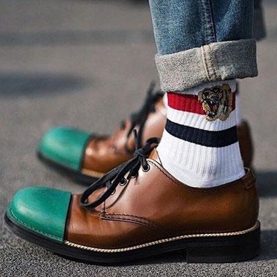 [UNISEX] タイガー刺繍ラインソックス/靴下