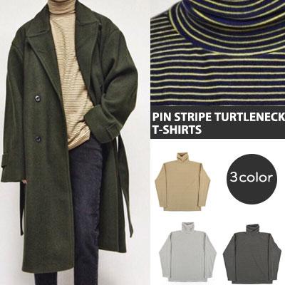 [UNISEX] ピンストライプタートルネックロングスリーブtシャツ(3color)