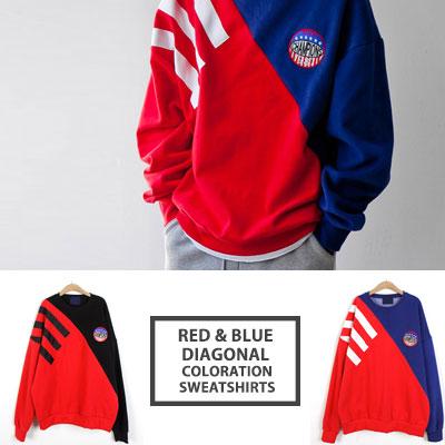 [UNISEX]レッド/ブルーのダイアグラムカラースウェットシャツ(2color)