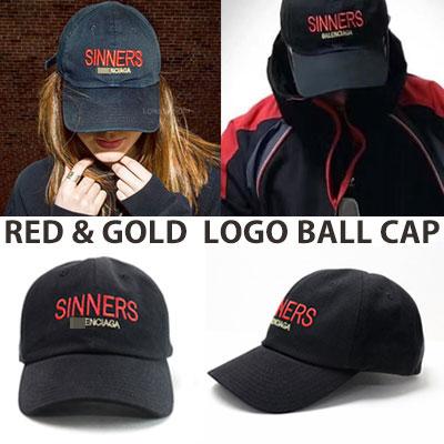[UNISEX] レッド/ゴールドグリッターロゴボールキャップ