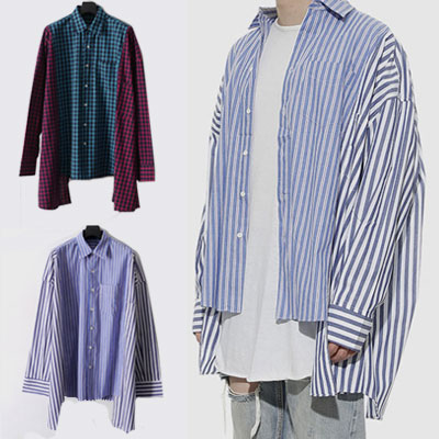 [UNISEX] アンバランスパッチストライプチェックシャツ(2color)