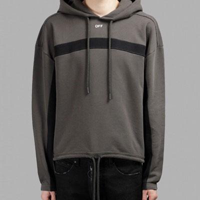 [UNISEX] ワンラインポイントストリングプルオーバーフードシャツ