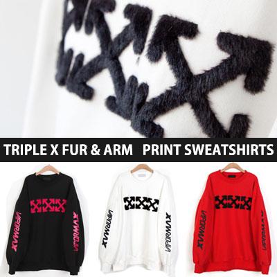 [UNISEX] TRIPLE X ファースリーブプリントスウェットシャツ(3color)