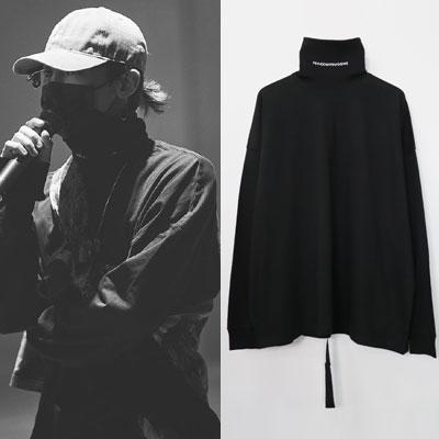 [UNISEX] BIGABANG/GD/g-dragon st. タートルネックロゴプリントロングスリーブシャツ