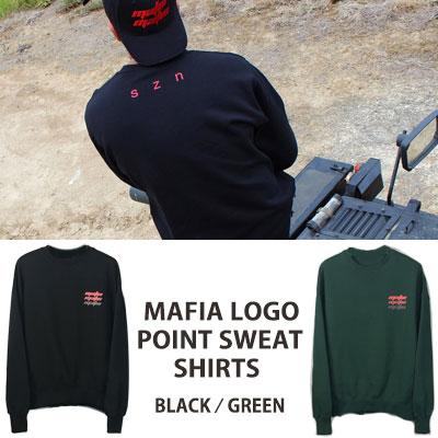 [UNISEX] マフィアのロゴポイントクルーネックスウェットシャツ(2color)