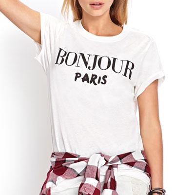 【PAPER MOON】 BONJOUR PARIS プリントショートスリーブTシャツ white ver.