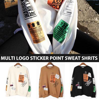 [UNISEX] マルチロゴステッカーポイントスウェットシャツ(3color)