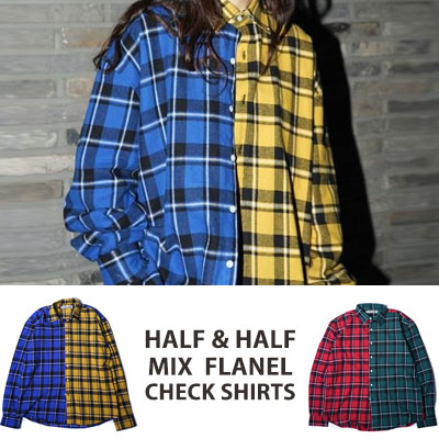 ★SALE★4,317円->2,589円★ [UNISEX] WANNA ONE Kang daniel,J-park st./HALF&HALF ミックスフランネルチェックシャツ(2color)