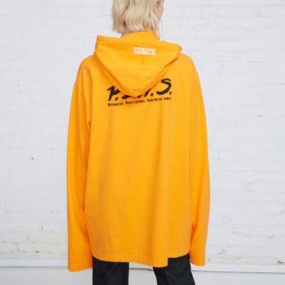 [UNISEX] ORANGE&NEON カラーロングフードtシャツ(2color)