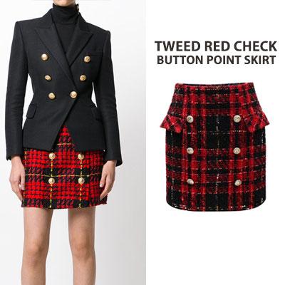 ツイードレッドチェックボタンポイントスカート(3size)