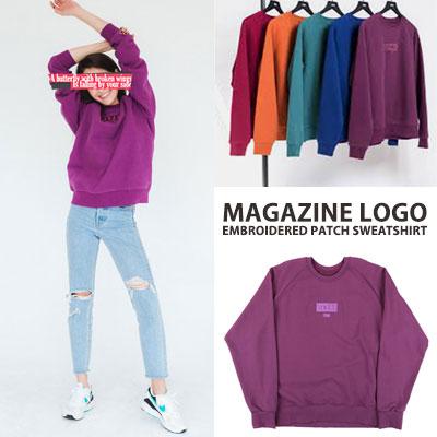 [UNISEX] マガジンのロゴ刺繍パッチスウェットシャツ(5color)