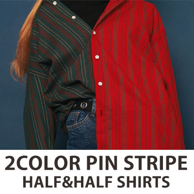 [UNISEX] 2COLOR ピンストライプハーフ&ハーフシャツ(2color)