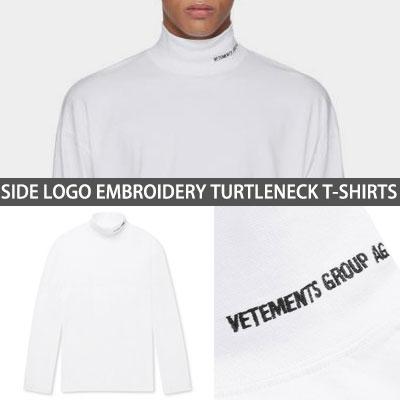 [UNISEX] サイドのロゴ刺繍タートルネックTシャツ white ver.(2size)