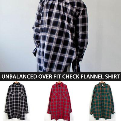 [UNISEX] [OVER SIZE]アンバランスオーバーフィットチェックフランネルシャツ(3color)