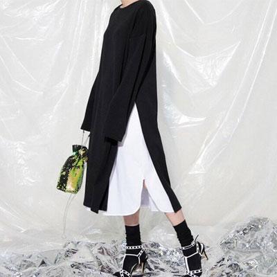 【PAPER MOON】 サイドスリットシンプリーロングドレス