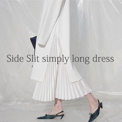 【FEMININE : BLACK LABEL】サイドスリットシンプリーロングドレス -ivory ver.