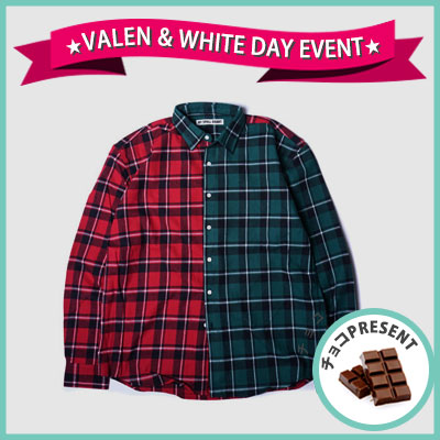 ★SWEET DAY EVENT★ [UNISEX] WANNA ONE Kang daniel,J-park st./HALF&HALF ミックスフランネルチェックシャツ(2color)