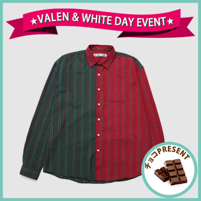 ★SWEET DAY EVENT★ [UNISEX] 2COLOR ピンストライプハーフ&ハーフシャツ(2color)