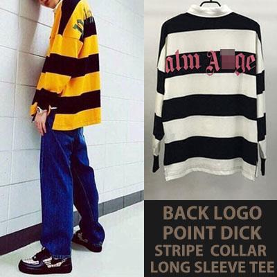 [UNISEX] IKON BOBBY/防弾少年団/BTS/DNA/JIN/ZICO st.後ろロゴポイントディックストライプカラーTシャツ(2color)