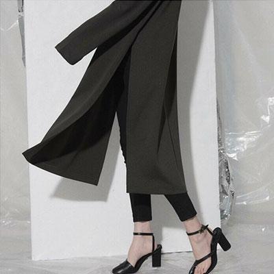 【FEMININE : BLACK LABEL】サイドスリットシンプリーロングドレス -khaki ver.