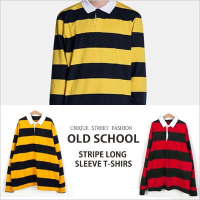 [UNISEX] オールドスクールストライプロングスリーブTシャツ(2color)