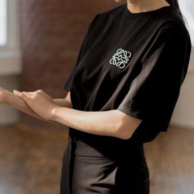 【FEMININE : BLACK LABEL】ロープ刺繍ロゴショートスリーブTシャツ black ver.(2color)