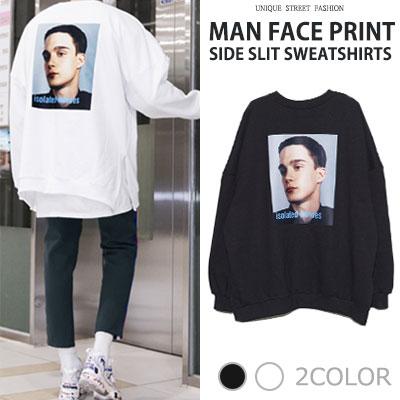 [UNISEX] マンフェイスプリントサイドスリットスウェットシャツ(2color)