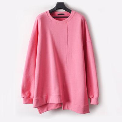 [UNISEX] スーパーオーバーサイズアンバランスカットスウェットシャツ(4color)