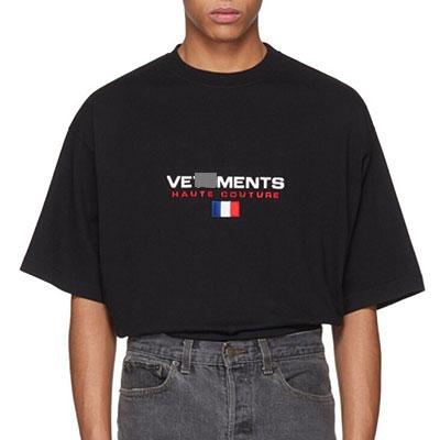 [UNISEX] フランスのフラグ刺繍ショートスリーブTシャツ(2color)
