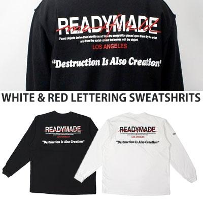 [UNISEX] ホワイトレッドレタリングスウェットシャツ(2color)