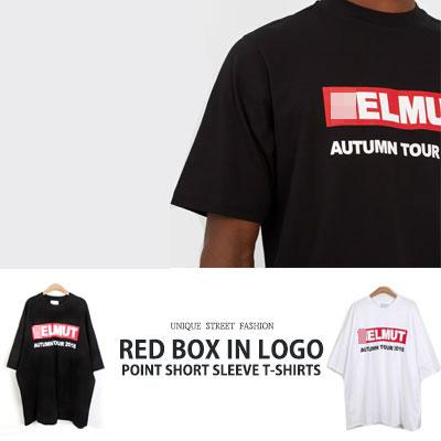 [UNISEX] レッドボックスロゴポイントショートスリーブtシャツ/半袖(2color)