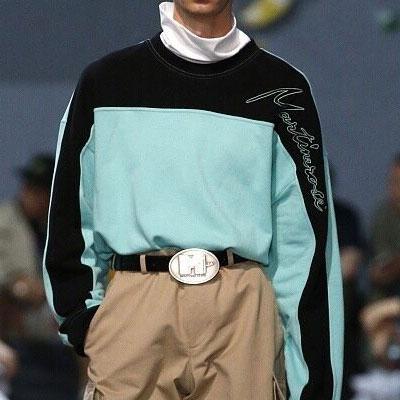 [UNISEX] ワンサイドショルダーカラーミックススウェットシャツ(2color)
