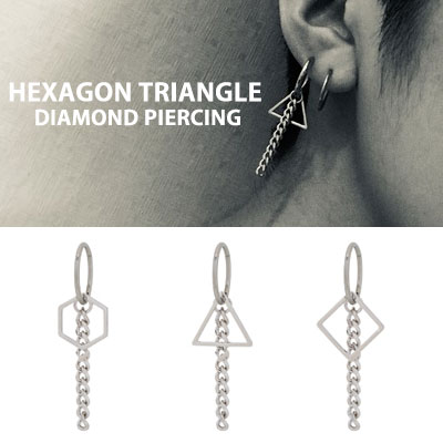 [1ea]ヘキサゴントライアングルダイヤモンドピアス(3type)