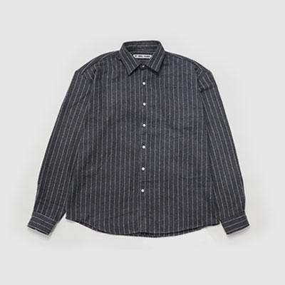 ★40%SALE★[UNISEX] グレーのオーバーサイズストライプシャツ