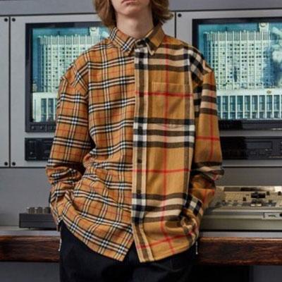 [UNISEX] HALF&HALF ベージュチェックロングスリーブシャツ