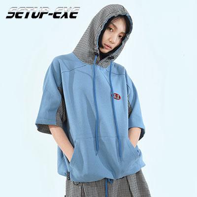 【SETUP-EXE】チェックパッチフード -  SKY BLUE