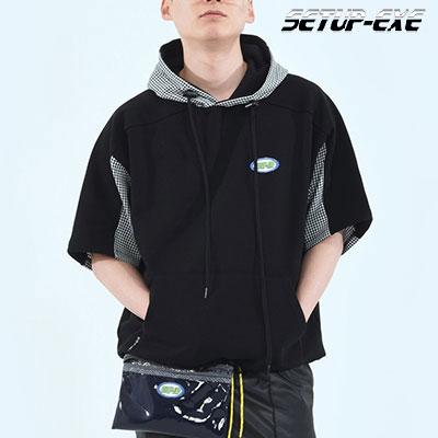 【SETUP-EXE】チェックパッチフード -  BLACK