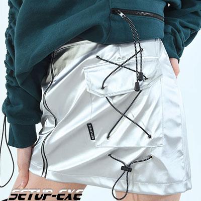【SETUP-EXE】サイドポケットスカート  -  SILVER