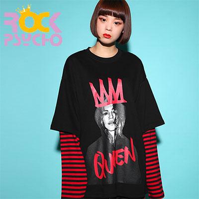 【ROCK PSYCHO】クイーンプリントロングTシャツ - BLACK