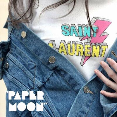 【PAPER MOON】ライトニング/ビンテージロゴショートスリーブTシャツ-white