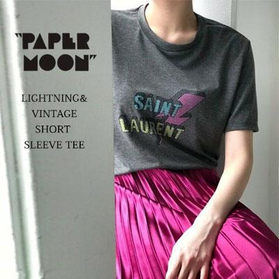 【PAPER MOON】ライトニング/ビンテージロゴショートスリーブTシャツ-charcoal