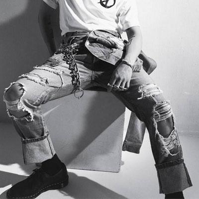 BIGBANG GD/GDRAGON st.マルチディストリロイドデニムジーンズ(3size)
