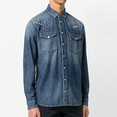 スタッドポイントツーポケットデニムシャツ(2color)
